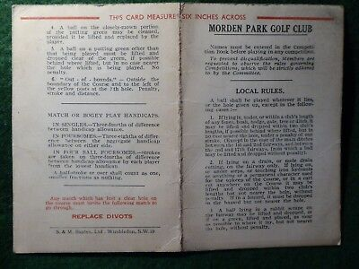 Morden Park Golf Club Score Card & Stymie Measure. Defunct Course by 1951.