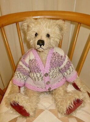 "*TEDDY CLOTHES* new hand knitted fairisle cardigan to suit a16"" bear"