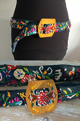 VERY RARE Vintage NICOLE FARHI BELT Hand Crafted Applique Hipster Hippy Size M L