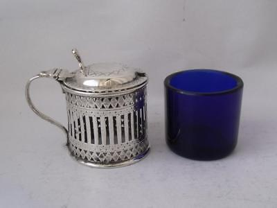 Dainty Hand-Engraved Antique Solid Sterling Silver Mustard Pot 1900 HA/ H 5 cm