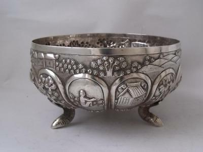 Quality Antique Decorative Embossed Indian Solid Silver Bowl/ Dia 10.9 cm/ 141g