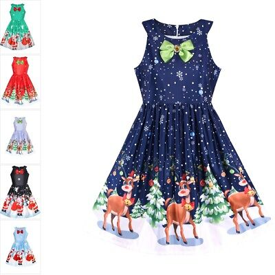 Girls Dress Christmas Eve Christmas Tree Snow Reindeer Party Size 7-14