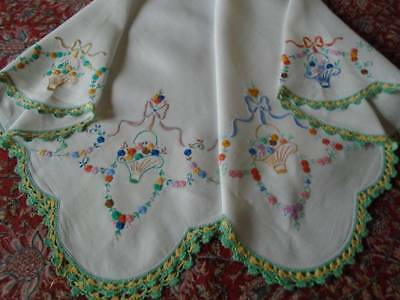Exquisite Vintage Hand Embroidered Linen Tablecloth~Beautiful Miniature Florals