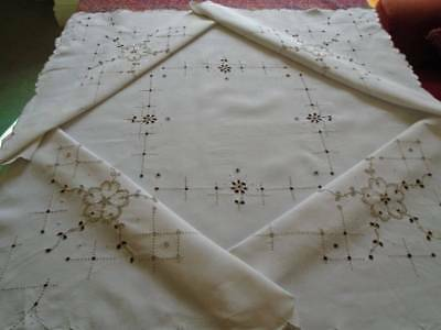 Antique Madeira Style Irish Linen Tablecloth~Superb Stitchwork~Classical Colours