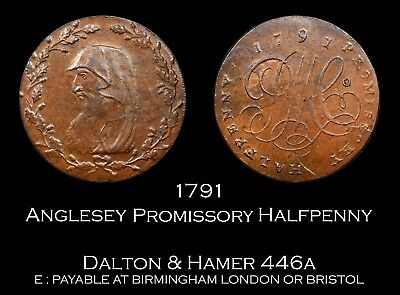 1791 Anglesey Mines Promissory Conder Halfpenny D&H 446a