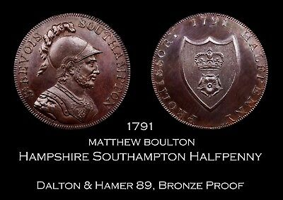 1791 Hampshire Southampton Conder Halfpenny D&H 89, Bronze Proof