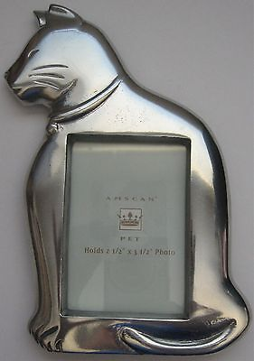 Cat Silhouette Photo Frame Silver Metal Picture Free Standing Amscan Pet