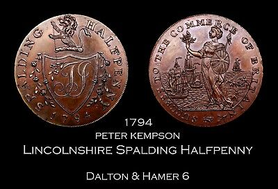 1794 Lincolnshire Spalding Conder Halfpenny D&H 6, high grade