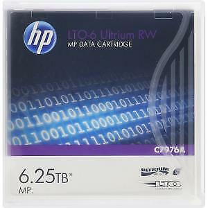 NEW! Hp Data Cartridge Lto-6 1 Pack 2.50 Tb Native / 6.25 Tb Compressed 846 M Ta