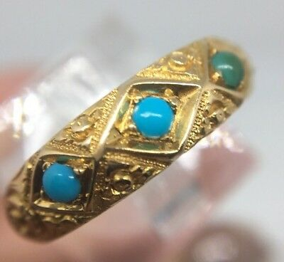 Victorian Antique 1875 Ornate Turquoise 3 Stone Ring 18ct Yellow Gold Pretty