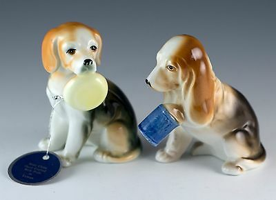 "Vintage Bone China 3"" Beagle & Basset Hound Dog Figurines Valentino Collection"