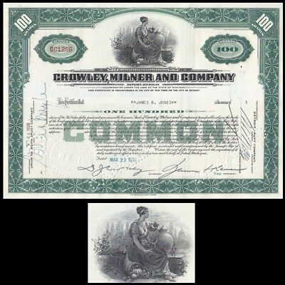 Crowley Milner and Company MI 1938 Stock Certificate