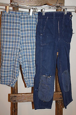 2 Prs~VINTAGE Boy's BLUE Plaid KNICKERS~Ranch Craft BLUE JEANS~Talon Zipper~USED