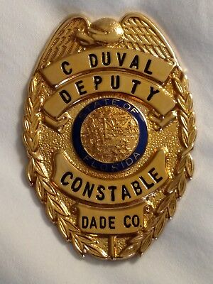 Old / Defunct Gold Deputy Constable Named C. Duval Dade County Florida FL Badge