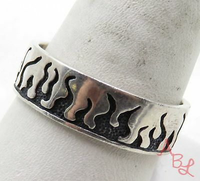 Sterling Silver Vintage 925 Fire & Flames Band Ring Sz 11 (5.3g) - 575086