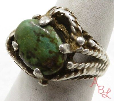 "Sterling Silver Vintage 925 ""Brocken Band"" Turquoise Ring Sz 7 (6.3g) - 575392"