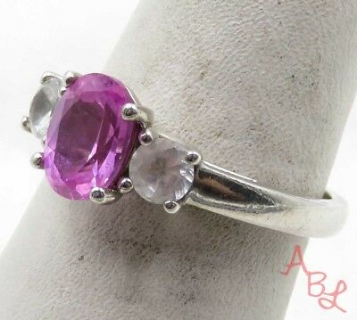 Sterling Silver Vintage 925 Cocktail Pink Tourmaline Ring Sz 7 (2.9g) - 575320