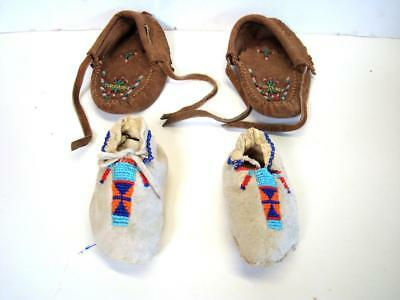 2 Pairs of Child Size or Baby Vintage Beaded Moccasins - Great For Dolls