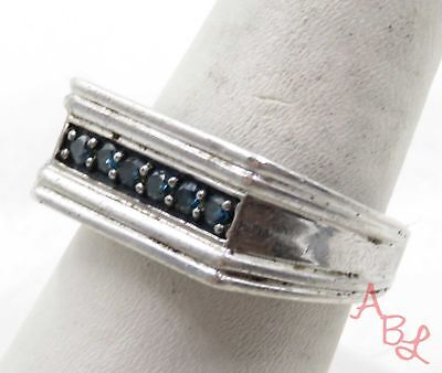 Sterling Silver Vintage 925 Channel Set Blue Diamond Ring Sz 9.25 (7.2g) 575534