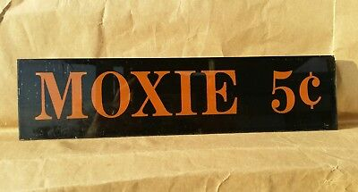 """Antique MOXIE 5¢ Cents Reverse Painted 3/16"""" Glass Advertising Sign 12.5"""" X 3"""""""