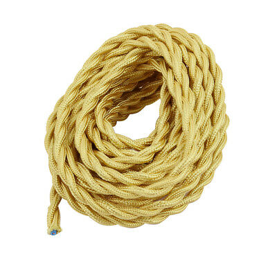 DIY Dual Core Gold Tone Braided Cable Wire Chandelier Power Cord 5 Meters Long