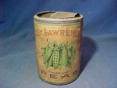 Early 1900s ST LAWRENCE PEAS Advertising FOOD TIN Opened w Orig PAPER LABEL