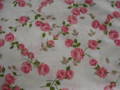 VINTAGE Shabby Chic PINK ROSES Print-PAIR Pillowcases-West Point PEPPERELL-Xlnt!