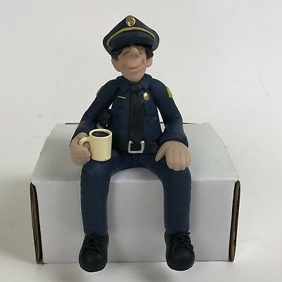 Diana Manning Police Officer Cop Blue Lives Matter Clay Figurine Shelf Sitter