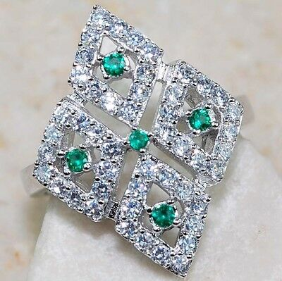 2CT Natural Emerald & White Topaz 925 Solid Genuine Sterling Silver Ring Sz 8