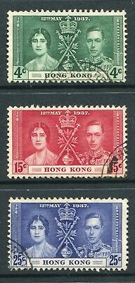 Hong Kong: 1937 George VI Coronation Set of 3 Stamps SG137-139 Fine Used AW220