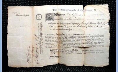1796 antique DEED (not within last INDIAN purch) THOMAS MIFFLIN cumberland pa