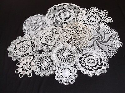 Vintage 12 Assorted Styles Of White/cream/beige Cotton Lace Doilies