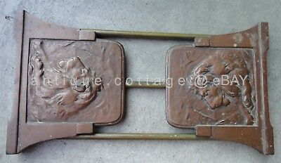 antique LION SLIDING BOOKENDs brass bronze hammered arts crafts JUDD 09950