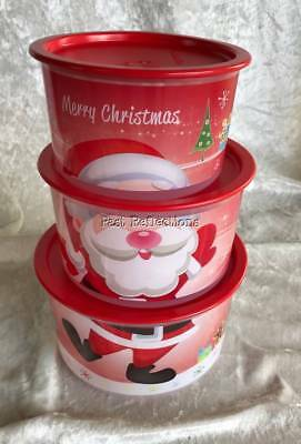 Tupperware Christmas Santa Reindeer Canister Set Of Three Stacking Red