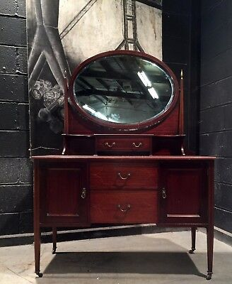Can Deliver Antique Mahogany Inlaid Mahogany Dressing Chest Dressing Table