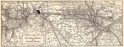 1923 Antique GREAT NORTHERN Railroad Map Vintage Railway Map 4232