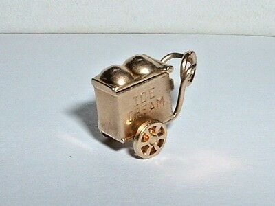 VINTAGE 10k YELLOW GOLD 3D ICE CREAM WAGON CART CHARM moves