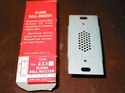 VTG TRINE BELL Door BUZZER 233  8-12Vac ELECTRIC  New Flush Mount