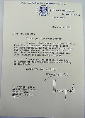 Lord Thorneycroft Autogrtaphed Letter 1981 Thatcher/Unions Content