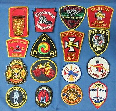 Lot Of 16 Fire Department Patches Us. Nj., Ma., Ok., Or., Etc.