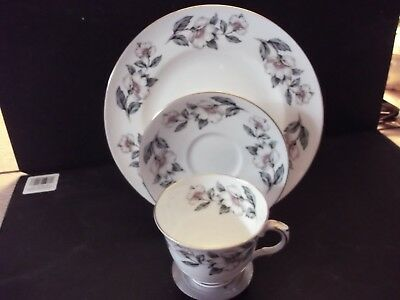 Crown Staffordshire 3 piece set, cup, saucer and luncheon plate pear blossom