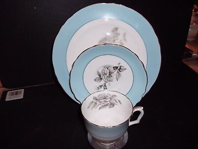 Crown Staffordshire, 3 piece luncheon set, cup, saucer and luncheon plate Grey B