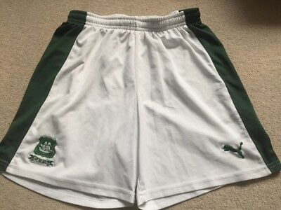 Plymouth Argyle White/Green Away Football Shorts Size Large In VGC By Puma