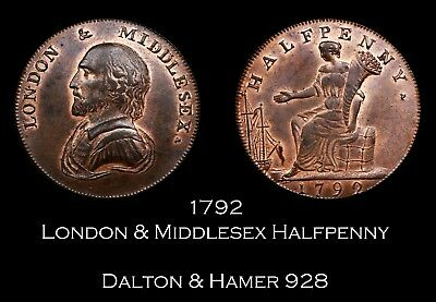 1792 London & Middlesex Conder Halfpenny D&H 928, lustrous