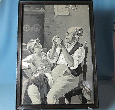 Stevengraph of TAILOR and GIRL by Neyret Freres Bechi Antique Woven Silk