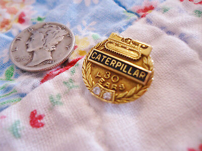 Vintage Caterpillar Tractor Company 14K Gold/diamonds 30 Years Pin