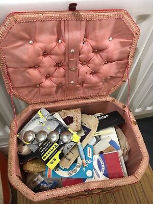 Vintage Wicker Sewing Basket Box Red Plus Contents Newey Sylko Buttons Trims