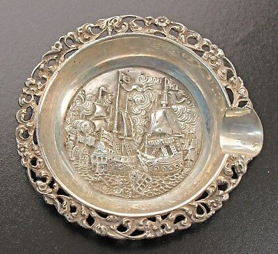 Dutch Sterling Individual Ashtray - Figural Tall Ships Battle Scene