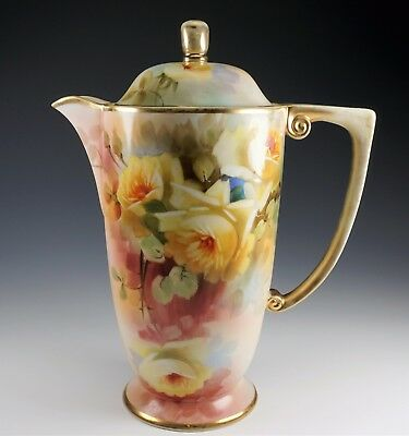 Beautiful Hand Painted Large Yellow Roses Nippon Porcelain Coffee Pot