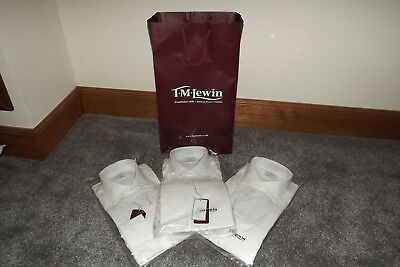 Tm Lewin ~ Set Of 3 Mens White Finest Two Fold Cotton Regular Fit Shirts ~ 16''